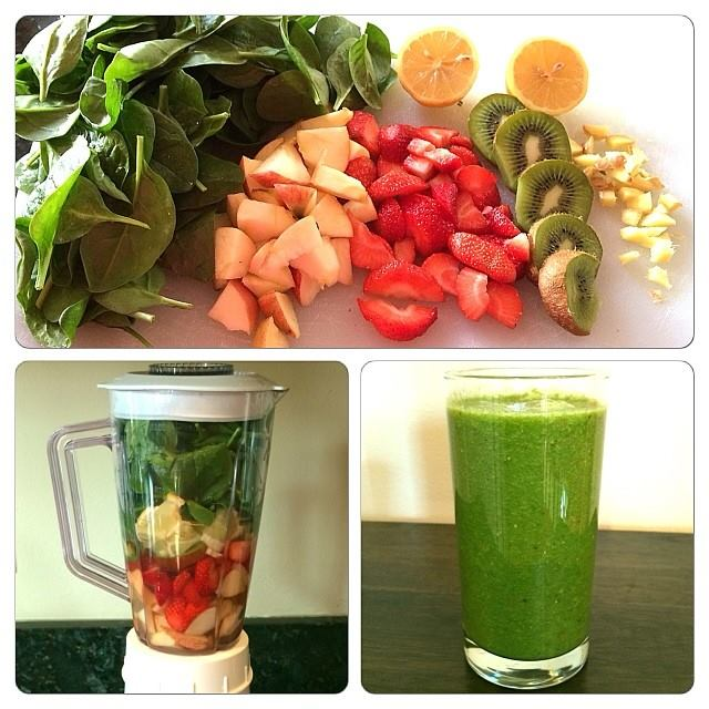 5min Kiwi Strawberry Spinach Smoothie!